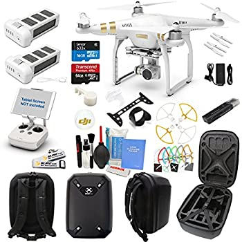 DJI Phantom 3 Professional (Pro) Drone Quad Copter W/ Hardshell Backpack and Everything You Can Think of Kit: 1 Extra DJI Battery, 1x 64GB U1 SD Card, Snap on Prop Guards and More