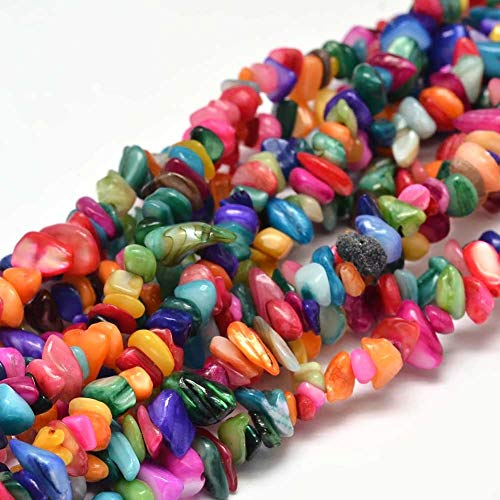 DanLingJewelry Colorful Dyed Seashell Beads Loose Gemstone Beads for Jewelry Making, DIY Crafts, Home Decorations(Mixed Color-10 Strand,8x5mm,Hole:1mm)