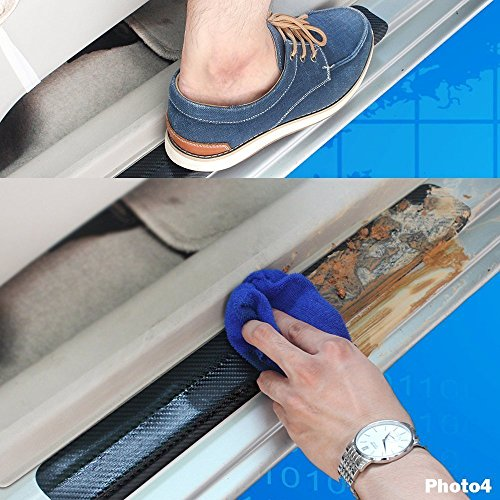Car Modify 4D Carbon Fiber Door Sill Scuff Plate Welcome Inside Film Sticker Vinyl Self-adhesive Sticker 4Pcs