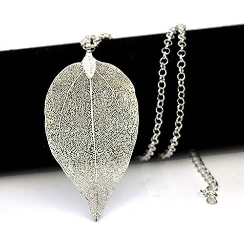 ZSE Jewelry Leaf Necklace Bohemian Pure Natural Leaf Necklace Silver Plated Leaf Pendant Long Chain Necklace