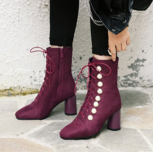 Autumn and Winter British Style Lace Pearl Coarse Shoes With High Heels Martin Boots Female Wine Red mmFZ23QdOq