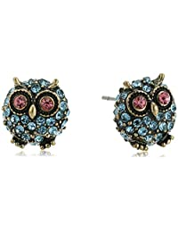 "Betsey Johnson""Betsey's Delicates"" Pave Owl Stud Earrings"