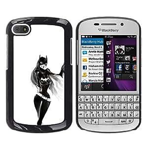 Caucho caso de Shell duro de la cubierta de accesorios de protección BY RAYDREAMMM - BlackBerry Q10 - Chica Sexy Bat