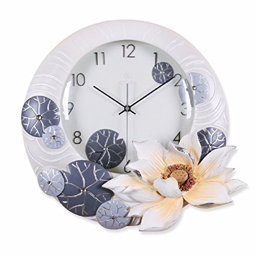 OLQMY-Luxury home decoration Large garden lotus fresh and simple and creative embossed silent wall clock, living room three-dimensional hanging table, quartz decorative clock,A