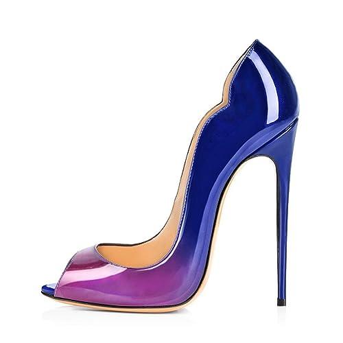 5b040ee6c0cb16 elashe - Damenschuhe - Bequeme High Heels 12cm - Peeptoe Stiletto   Amazon.de  Schuhe   Handtaschen
