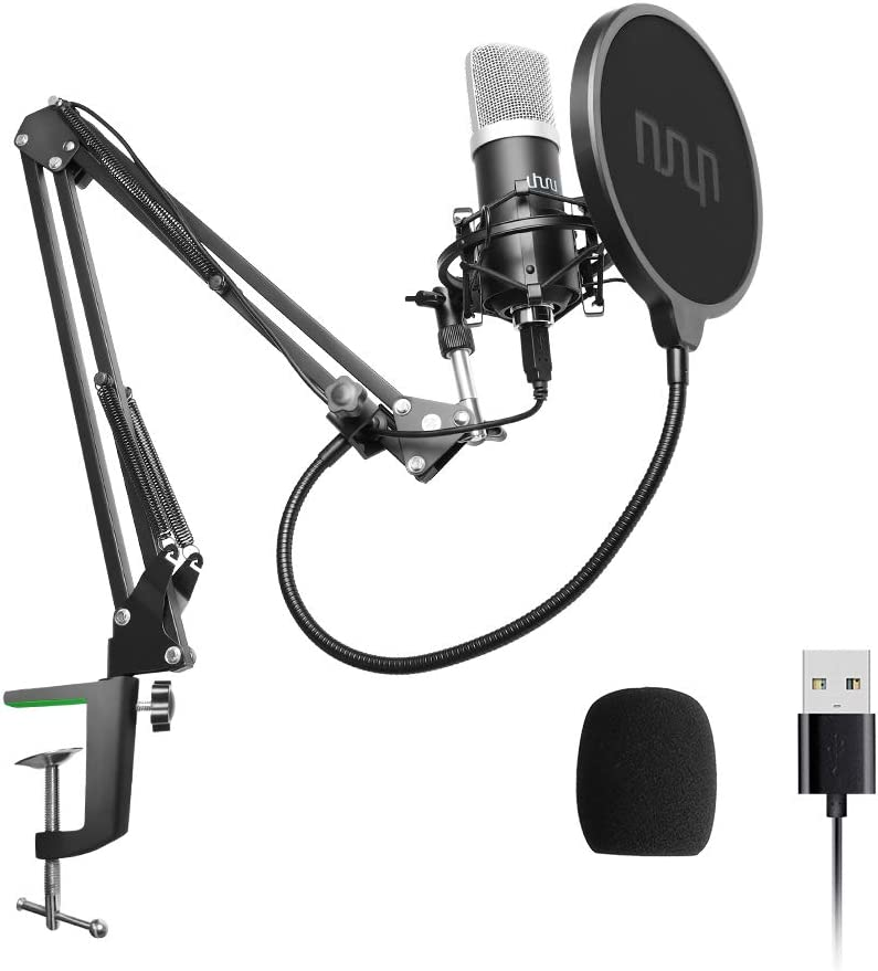 USB Podcast Condenser Microphone 192kHZ/24bit, UHURU Professional PC Streaming Cardioid Microphone Kit with Boom Arm, Shock Mount, Pop Filter and Windscreen, for Broadcasting, Recording, YouTube: Home Audio & Theater