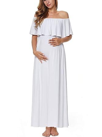 5ede863236e CareGabi Women s Ruffle Off The Shoulder Maxi Maternity Dress at ...