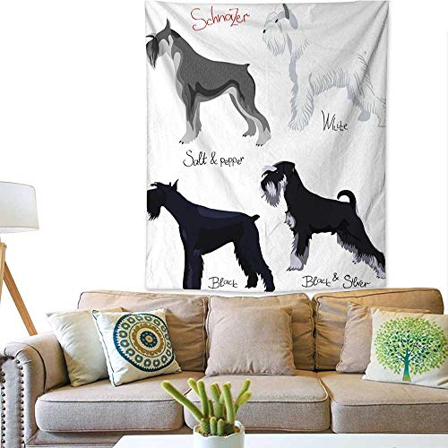 Anyangeight Decorative Tapestry Vector Set of Purebred Dogs Schnauzer 51W x 60L INCH