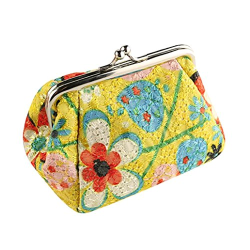 Mini Handbag Coin Purse - Wallet,toraway Womens Vintage Flower Mini Wallet Coin Purse Clutch Handbag (Yellow)