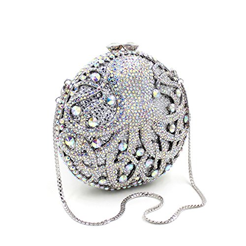 Shells Shoulder C Clutches Party Embroidery Bags Octopus Evening Round Colorful Dinner Lady Luxury Evening Bag pqxtF6Hv