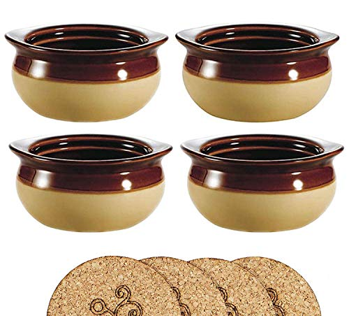 Ecodesign Bowls - Set of 4 - Brown and Ivory French Onion Soup Bowls - 300 ml (10.5 Ounce) - Porcelain Classic European Style Healthy Portion Crocks - Oven/Microwave safe