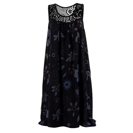 Sunnyuk - Vestido de mujer de línea A, sin mangas, vestido de ...