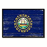 New Hampshire State Flag Canvas Print, Black Picture Frame Gift Ideas Home Decor Wall Art Decoration