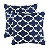 Pack of 2 CaliTime Throw Pillow Covers 20 X 20 Inches, Quatrefoil Accent Geometric, Navy Blue