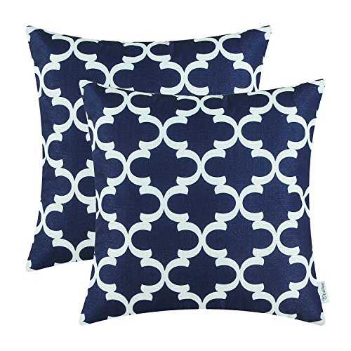 Pack of 2 CaliTime Throw Pillow Covers Cases for Couch Sofa Home Decor, Modern Quatrefoil Accent Geometric, 20 X 20 Inches, Navy Blue (Navy Sofa For Throws)