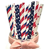 united states plastic puzzle - National Day Drinking Paper Straws, The Stars And The Stripes Drinking Decoration Party Celebration Activities Festivity Straws With America Flag Design Element Paper Straws(Captain America)