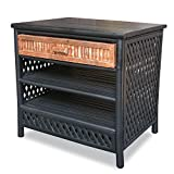 Heather Ann Creations Isla Collection Bohemian Slatted Frame Cabinet With Shelves, 23'', Black/Brown