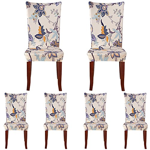 ColorBird Flower Series Spandex Fabric Chair Slipcovers Removable Universal Stretch Elastic Chair Protector Covers for Dining Room, Hotel, Banquet, Ceremony (Set of 6, Corn Poppy) (Large Chair Slipcovers)