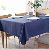 Bringsine Solid Cotton Linen Tablecloth Stain Resistant/Spill-Proof/Waterproof Lace Table Cover for Kitchen Dinning Tabletop Decoration (Rectangle/Oblong, 53' x 71', Navy Blue)