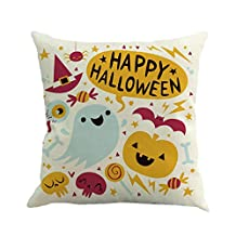 "Woaills Halloween Ghost Pumpkin Flax Square 18"" Pillow Case Cushion Cover Perfect For Sofa Coffee-shop Library Book-store Party Club (A)"