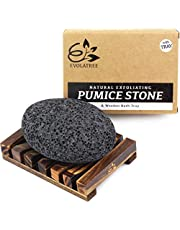Evolatree Pumice Stone for Feet - Foot Scrubber for Exfoliating Dry Dead Skin - Natural Foot Stone Removes Callus on Hands, Heels, and Body - Foot Care Pedicure Gift Set w/Reusable Wooden Bath Tray