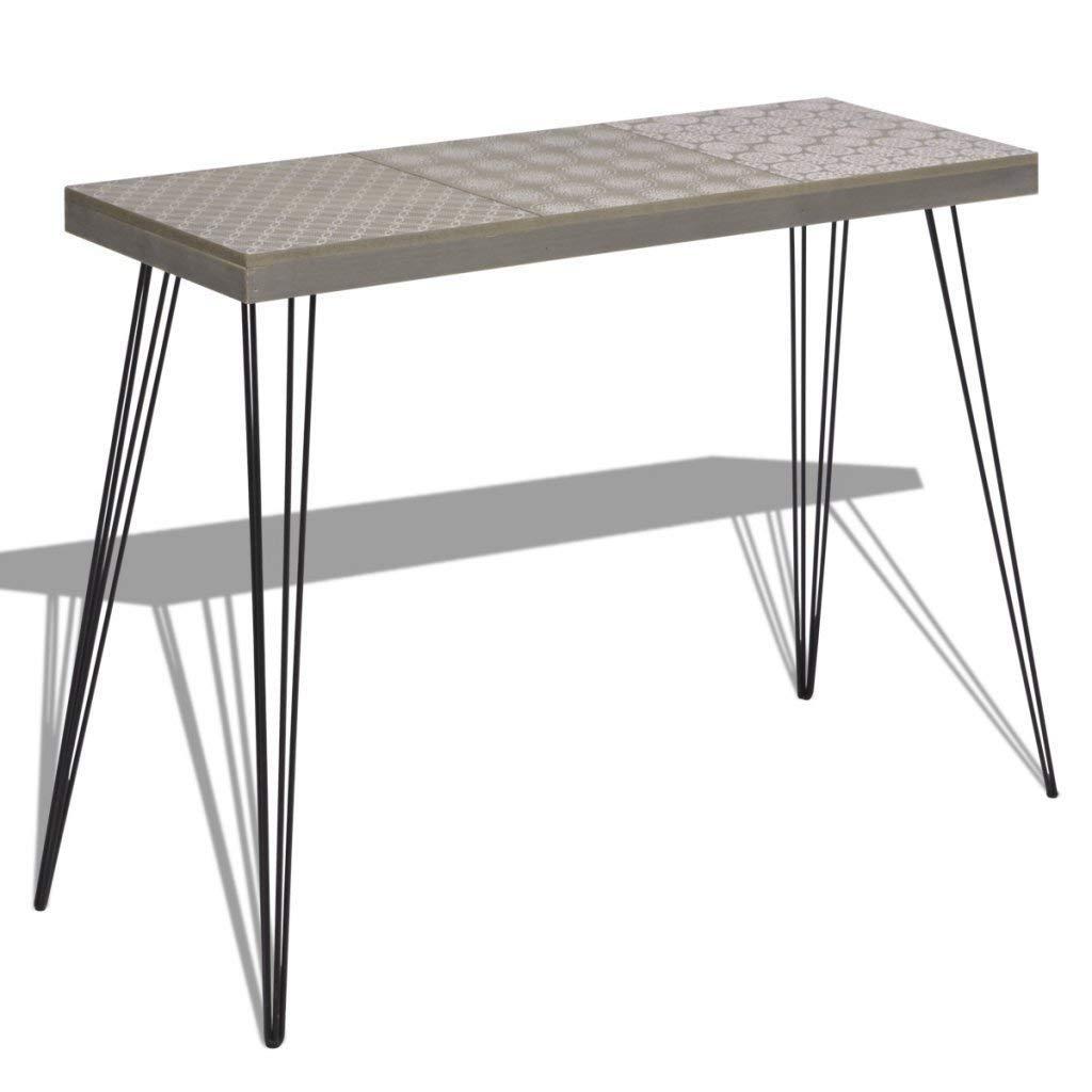 WT Trade Deluxe Konsolentisch Konsole Ablagetisch Grau | 90 cm | MDF Stahl | Sideboard Vintage Flurtisch | Sekretä r Tischkonsole Kommode Schminktisch Schreibtisch