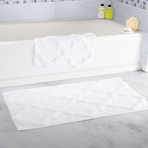 Super Absorbent 100% Egyptian Cotton 2-Piece Trellis Rectangle Bathroom Mat Set (White) (Charlie Brown Abc Halloween)