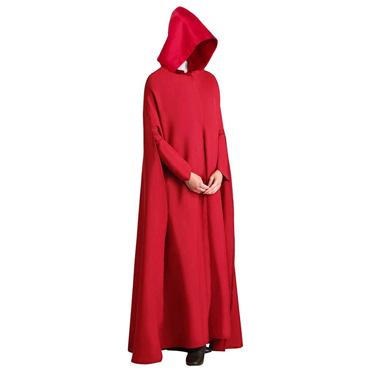 Mantella da Cameriera da Donna,Vestito Donna Abito Costume per Halloween e Cosplay NUWIND Handmaid Tale Mantello con Cappuccio