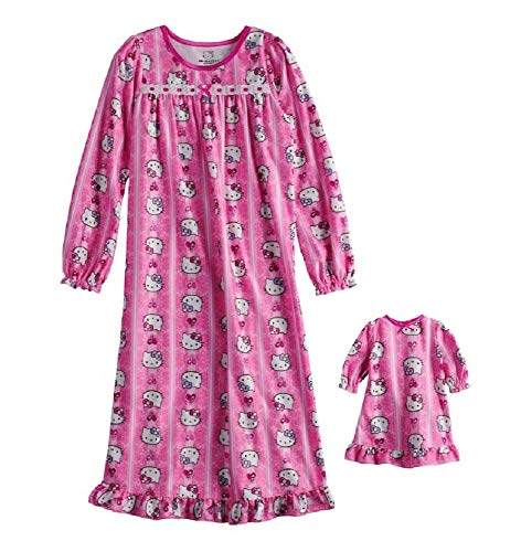 (Hello Kitty Nightgown & Matching Doll Gown Set - Girls 4-10)