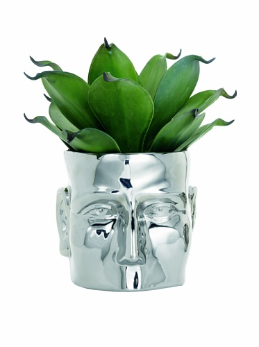 Ceramic Face Vase with Chrome Finish