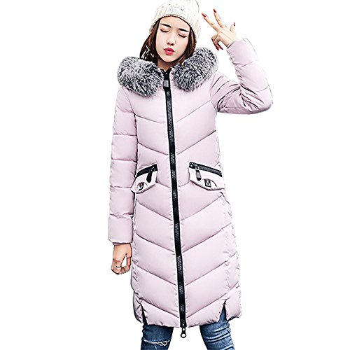 Fur Cotton Down Long Parka Winter Jacket Hooded Quilted Warm Women's For Coat Pink Collar BAINASIQI 5Wv1zxqwRW