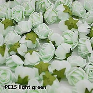 CANTOSI Decor Leaf - 50pcs 2cm Mini Artificial Flower Pe Foam Rose with Leaves Handmade Bouquet DIY Wreath Supplies Wedding Party Decoration85z 87