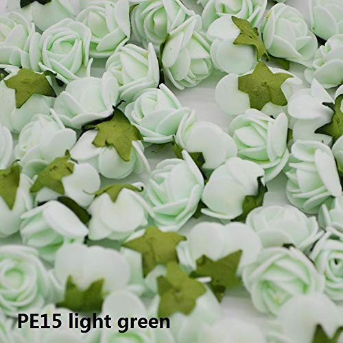 CANTOSI Decor Leaf - 50pcs 2cm Mini Artificial Flower Pe Foam Rose with Leaves Handmade Bouquet DIY Wreath Supplies Wedding Party Decoration85z ()
