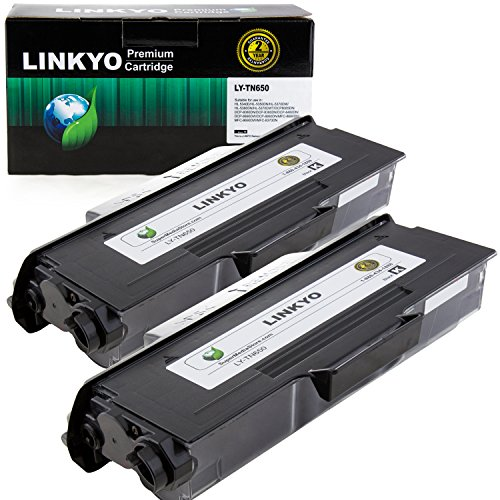 LINKYO Compatible Toner Cartridge Replacement for Brother TN650 TN-650 TN620 (Black, High Yield, 2 Pack) ()