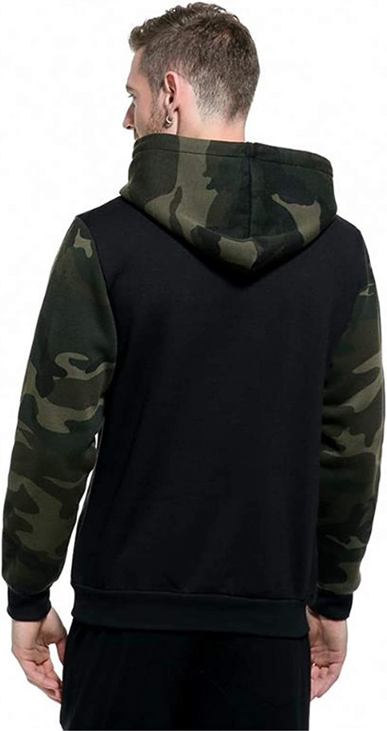 Yoiway Mens Hooded Sweatshirt Long Sleeve Camouflage Hoodies Warm Loose Outwear Fall Winter Clothes with Pocket