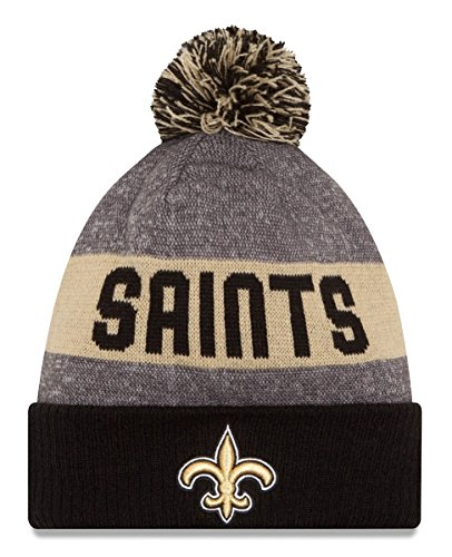 New Era Knit New Orleans Saints Gold On Field Sideline Sport Knit Winter Stocking Beanie Pom Hat Cap 2015 (Saints Stocking Cap compare prices)