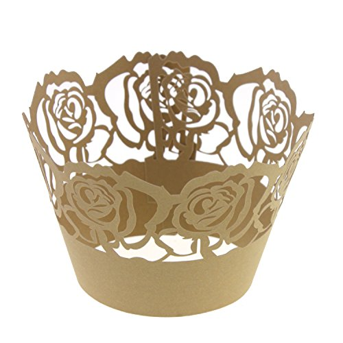 UNIQLED Pack of 50 Filigree Rose Artistic Bake Cake Paper Cups Lace Laser Cut Cupcake Wrappers Baking Cup Liners Muffin Holder Case for Birthday Wedding Party Decoration (Pale (Rose Cupcakes)