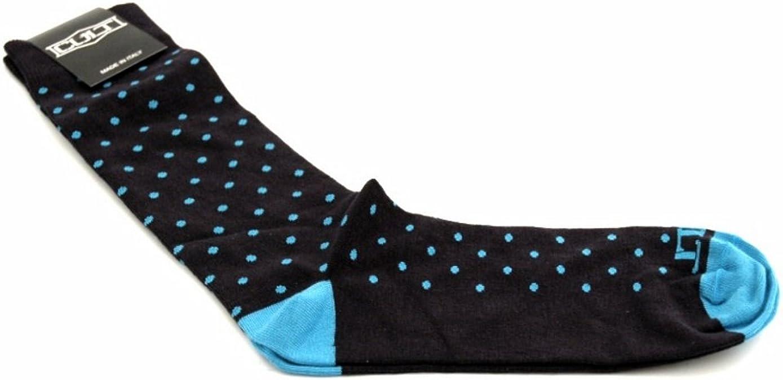 Cult Hombre calcetines de algodón 100% de color azul con manchas azules. Un tamaño. Made in Italy.: Amazon.es: Zapatos y complementos