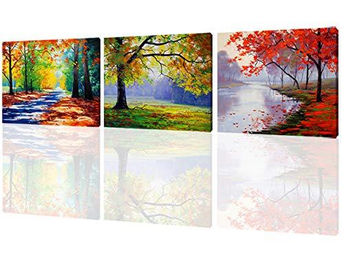 AMCART-Canvas Prints 3 Panels Autumn Maples Forest Picture