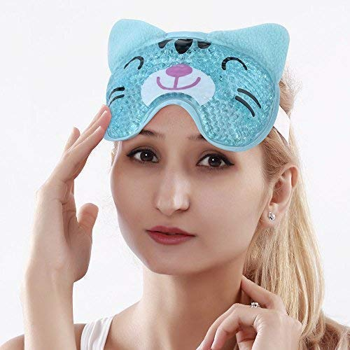 Cooling Eye Mask for Puffy Eyes Soft Cold Eye Mask with Gel Bead, Cute Eye Mask Gel Face Mask for Migraines and Headaches - Cat ()