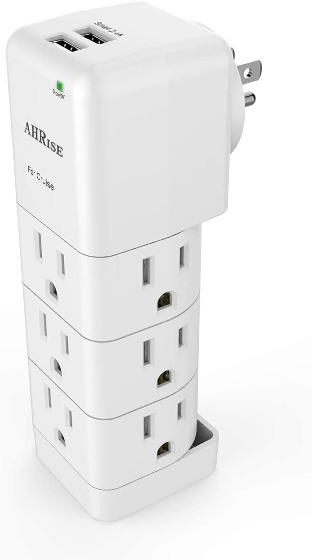 Cruise Ship Accessories, Power Strip with USB Outlets - Non Surge Protection & Ship Approved