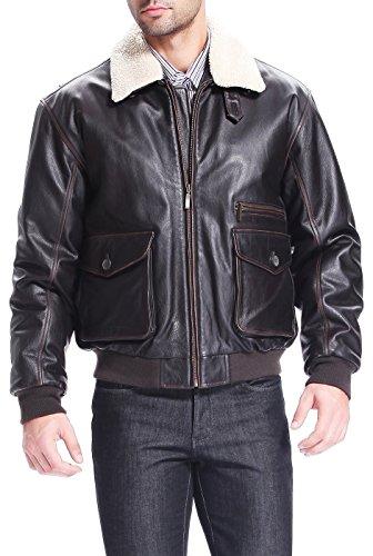 BGSD Men's Vintage Cowhide Leather Flight Bomber Jacket