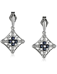 14k White Gold Blue Sapphire and Diamond-Accent Drop Earrings ( .024 cttw, I-J Color, I2-I3 Clarity)