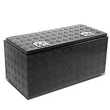 """36""""x18""""x16"""" Aluminum Pickup Truck Bed Trailer Key Lock Storage Tool Box (Black)"""