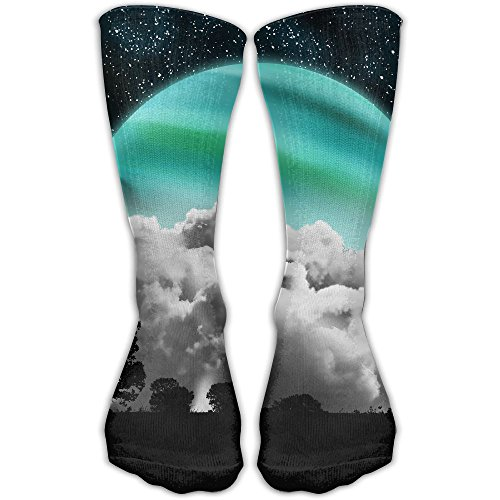 Green Moon Women & Men Socks Soccer Sport Tube Stockings Length 30cm -