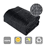 Agfabric 30% Sunblock Shade Cloth Cover with Clips for Plants 6' X 8', Black