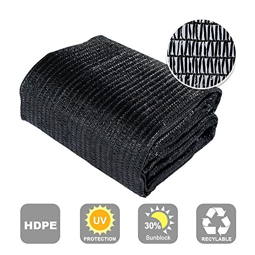Agfabric 30% Sunblock Shade Cloth Cover with Clips for Plants 20' X 40', Black
