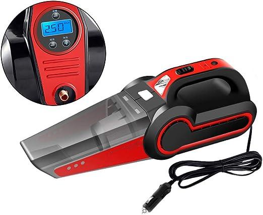 Aspirador portátil húmedo/seco 4-en-1 para automóvil 12V 120W 4000Mpa Bomba de inflado de neumáticos Indicador de presión Luz led para pelo de mascotas, limpieza de automóviles-red: Amazon.es: Hogar