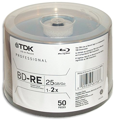 BD-RE TDK 25GB 2X Blu-Ray 50 pack Imation 48738 Blank Media & Cleaning Cartridges