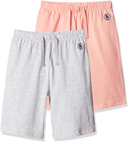 Price comparison product image Kid Nation Kids 2-Pack Cotton Jersey Elastic Gym Short L Seashell Pink + Gray Heather